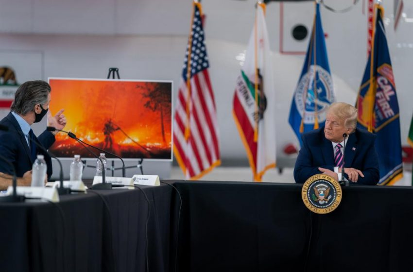 Trump, Biden clash at #USfires climate-front, 'it's cooling' says one, 'climate-arson' accuses other.
