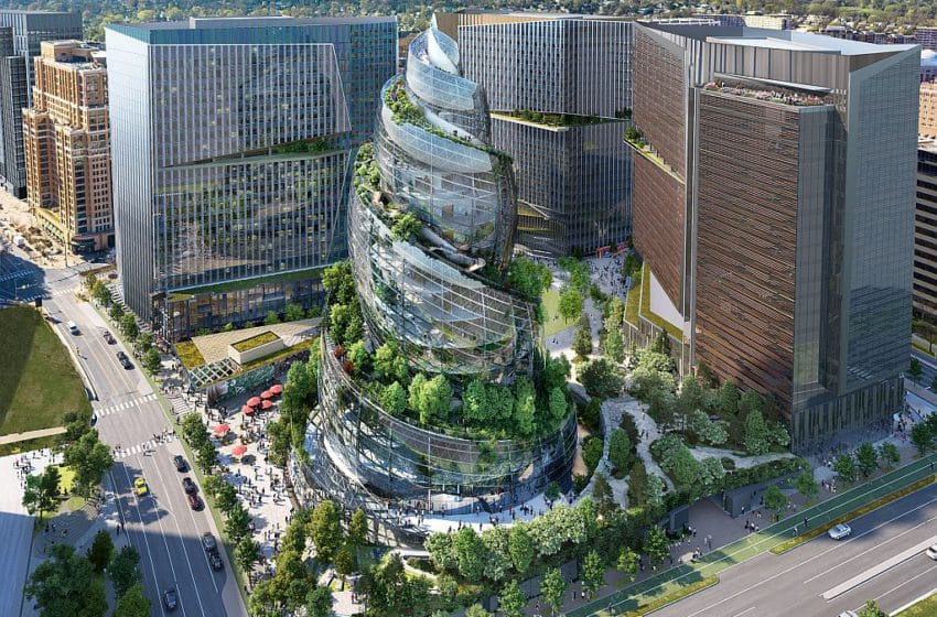 Amazon's new headquarters – Helix shape structure with spiral vertical forest
