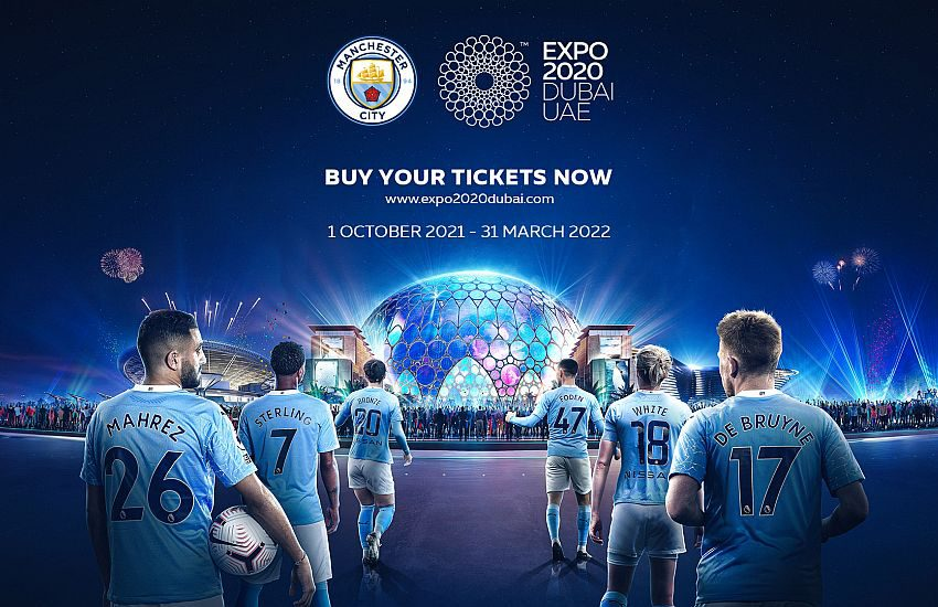 Manchester City celebrates Expo 2020 logo during its confrontation with Arsenal